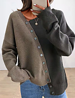 cheap -Women's Pullover Sweater Patchwork Button Solid Color Stylish Casual Long Sleeve Sweater Cardigans V Neck Fall Winter Navy Brown / Holiday