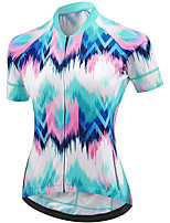 cheap -21Grams Women's Short Sleeve Cycling Jersey Summer Spandex Blue+Pink Bike Top Mountain Bike MTB Road Bike Cycling Quick Dry Moisture Wicking Sports Clothing Apparel / Stretchy / Athleisure