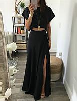 cheap -Women's A Line Dress Maxi long Dress Black Short Sleeve Solid Color Split Fall Summer Round Neck Casual Sexy 2021 S M L XL XXL