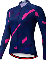 cheap -21Grams Women's Long Sleeve Cycling Jersey Spandex Polyester Dark Navy Funny Bike Top Mountain Bike MTB Road Bike Cycling Quick Dry Moisture Wicking Breathable Sports Clothing Apparel / Stretchy