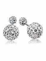 cheap -jlsd earrings s925 sterling silver full diamond double ball swarovski earrings jewelry