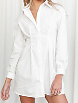 cheap -Women's Shift Dress White Long Sleeve Solid Color Modern Style Fall Lapel Casual 2021 XS S M L