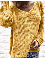 cheap -Women's Pullover Sweater Jumper Knitted Solid Color Stylish Basic Casual Long Sleeve Regular Fit Sweater Cardigans V Neck Fall Winter Light Blue Yellow Blushing Pink / Holiday