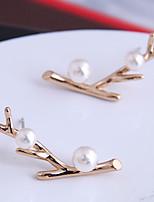 cheap -Women's Stud Earrings Earrings Leaf Simple Fashion Korean Imitation Pearl Earrings Jewelry Silver / Gold For Gift Formal Date Beach 1 Pair