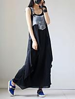 cheap -Women's Swing Dress Maxi long Dress Black Sleeveless Color Block Patchwork Fall Summer Square Neck Casual 2021 M L XL XXL 3XL