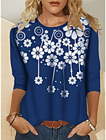 cheap -Women's T shirt Floral Plants Long Sleeve Round Neck Basic Tops Blue Black Red