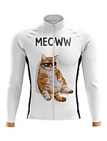 cheap -21Grams Men's Long Sleeve Cycling Jersey Spandex Polyester White Cat 3D Funny Bike Top Mountain Bike MTB Road Bike Cycling Quick Dry Moisture Wicking Breathable Sports Clothing Apparel / Stretchy