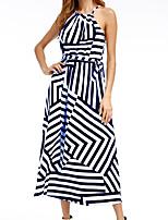 cheap -Women's A Line Dress Midi Dress Blue Wine Khaki Green Orange Black Red Sleeveless Striped Print Fall Round Neck Casual 2021 S M L XL
