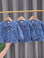 cheap -jackets 2021 spring autumn boys girls clothing baby coats blue denim print casual kids outerwear clothes
