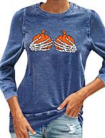 cheap -Women's Halloween T shirt Graphic Skull Pumpkin Print Round Neck Halloween Tops Blue Yellow Green
