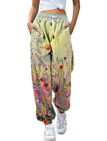 cheap -Women's Fashion Athleisure Breathable Sports Pants Sweatpants Loose Casual Daily Pants Flower / Floral Leaf Full Length Elastic Drawstring Design Print Rainbow