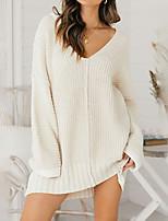 cheap -Women's Sweater Jumper Dress Short Mini Dress Blue Gray Khaki White Black Red Long Sleeve Solid Color Jacquard Fall V Neck Casual 2021 S M L XL XXL 3XL
