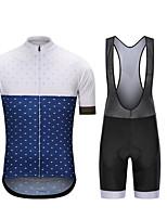 cheap -CAWANFLY Men's Short Sleeve Cycling Jersey with Bib Shorts Summer Blue+White Bike Sports Geometic Mountain Bike MTB Road Bike Cycling Clothing Apparel / Micro-elastic / Athleisure / Triathlon
