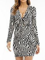 cheap -Women's Sheath Dress Short Mini Dress Khaki Black Long Sleeve Print Leopard Print Fall V Neck Casual 2021 S M L XL