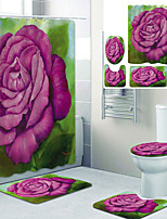 cheap -Watercolor Big Flowers Printed Bathroom Home Decoration Bathroom Shower Curtain Lining Waterproof shower curtain with 12 hooks floor mats and four-piece toilet mats.