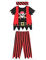 cheap -Pirates of the Caribbean Cosplay Costume Kid's Boys' Halloween Halloween Halloween Festival / Holiday Terylene Red+Black Easy Carnival Costumes Cool Skulls / Headpiece