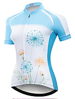 cheap -21Grams Women's Short Sleeve Cycling Jersey Summer Spandex Polyester Sky Blue+White Floral Botanical Funny Bike Top Mountain Bike MTB Road Bike Cycling Quick Dry Moisture Wicking Breathable Sports