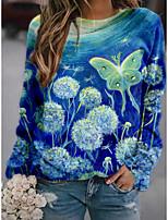 cheap -Women's Sweatshirt Pullover Butterfly 3D Dandelion Print Daily Sports 3D Print Active Streetwear Hoodies Sweatshirts  Blue Royal Blue
