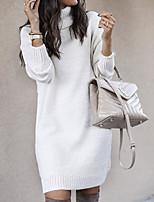 cheap -Women's Sweater Jumper Dress Short Mini Dress Blue Yellow Blushing Pink Gray Khaki White Long Sleeve Solid Color Ruched Fall Turtleneck Casual 2021 S M L XL XXL 3XL