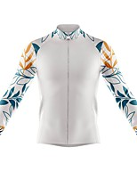 cheap -21Grams Men's Long Sleeve Cycling Jersey Spandex Polyester White Floral Botanical Funny Bike Top Mountain Bike MTB Road Bike Cycling Quick Dry Moisture Wicking Breathable Sports Clothing Apparel