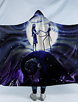 cheap -Hooded blanket with hat blanket cloak thick double blanket 3D digital print ghost bride