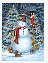cheap -Christmas Snowman Santa Claus Wall Art Canvas Prints Painting Artwork Picture Home Decoration Decor Rolled Canvas No Frame Unframed Unstretched