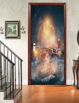 cheap -Halloween 2pcs Self-adhesive Horror Bridge Door Sticker Living Room Diy Decoration Home Waterproof Wall Sticker 77x200cm