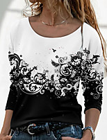 cheap -Women's Floral Theme Painting T shirt Floral Color Block Long Sleeve Print Round Neck Basic Tops Black