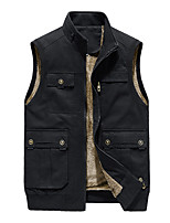 cheap -Men's Fishing Vest Hiking Fleece Vest Cotton Winter Outdoor Solid Color Thermal Warm Windproof Fleece Lining Warm Outerwear Trench Coat Top Full Length Visible Zipper Skiing Fishing Climbing Yellow