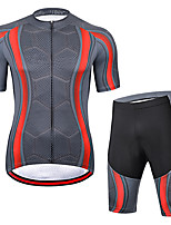 cheap -21Grams Men's Short Sleeve Cycling Jersey with Shorts Summer Spandex Polyester Grey Funny Bike Clothing Suit 3D Pad Quick Dry Moisture Wicking Breathable Back Pocket Sports Honeycomb Mountain Bike