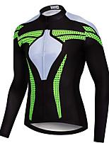 cheap -21Grams Men's Long Sleeve Cycling Jersey Spandex Green / Black Dot Bike Top Mountain Bike MTB Road Bike Cycling Quick Dry Moisture Wicking Sports Clothing Apparel / Stretchy / Athleisure