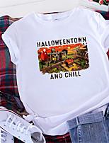cheap -Women's Halloween T shirt Graphic Letter Print Round Neck Basic Halloween Tops 100% Cotton Yellow Blushing Pink Wine