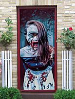 cheap -Halloween 2pcs Self-adhesive Horror Hot Girl Door Sticker Living Room Diy Decoration Home Waterproof Wall Sticker 77x200cm