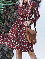 cheap -Women's A Line Dress Knee Length Dress Wine Navy Blue Long Sleeve Floral Solid Color Print Fall Shirt Collar Casual 2021 S M L