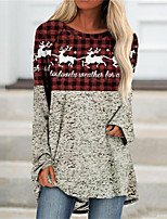 cheap -Women's Shift Dress Short Mini Dress Green Red Long Sleeve Plaid Animal Print Fall Winter Round Neck Casual Halloween Holiday Regular Fit 2021 S M L XL XXL 3XL