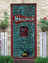 cheap -Halloween 2pcs Self-adhesive Horror Wall Door Sticker Living Room Diy Decoration Home Waterproof Wall Sticker 77x200cm