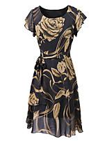 cheap -Women's A Line Dress Knee Length Dress Yellow Fuchsia Navy Blue Short Sleeve Floral Layered Ruffle Print Fall Summer Round Neck Elegant Casual 2021 S M L XL XXL 3XL 4XL 5XL