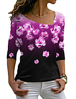 cheap -Women's Floral Theme Painting T shirt Floral Color Gradient Long Sleeve Print V Neck Basic Tops Blue Purple Blushing Pink