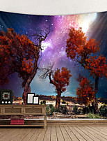 cheap -Tapestry Wall Hanging Art Decor Blanket Curtain Hanging Bedroom Living Red Leaf Tree Under Starry Sky