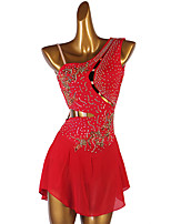 cheap -Figure Skating Dress Women's Girls' Ice Skating Dress Red Open Back Patchwork High Elasticity Training Competition Skating Wear Classic Sleeveless Ice Skating Figure Skating