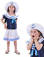 cheap -Sailor / Navy Dress Kid's Girls' Dresses Halloween Halloween Festival / Holiday Polyster Blue Easy Carnival Costumes Solid Color / Hat