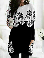 cheap -Women's Floral Theme Painting T shirt Floral Color Block Long Sleeve Pocket Print Round Neck Basic Tops Black