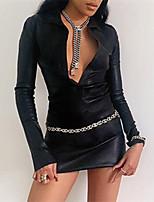 cheap -Women's Sheath Dress Short Mini Dress Black Long Sleeve Solid Color Modern Style Spring Summer Collar Casual Sexy 2021 S M L