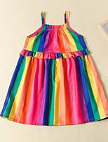 cheap -rainbow color stripe hanging loose dress