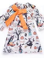 cheap -Kids Little Girls' Dress Cat Letter Print White Black Cotton Knee-length Long Sleeve Cute Dresses Halloween Fall Regular Fit 2-6 Years