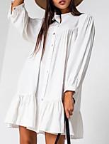 cheap -Women's A Line Dress Short Mini Dress Blue Khaki White Long Sleeve Solid Color Ruched Pleated Fall Shirt Collar Casual 2021 S M L XL XXL