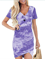 cheap -Women's Sheath Dress Short Mini Dress Blue Purple Red Wine Grey khaki Green Short Sleeve Tie Dyed Hollow Out Bowknot Spring Summer V Neck Active Casual 2021 S M L XL 2XL 3XL 4XL 5XL / Cotton