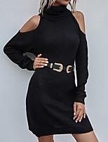 cheap -Women's Sweater Jumper Dress Short Mini Dress Blushing Pink Gray Khaki Black Long Sleeve Solid Color Ruched Fall Winter Turtleneck Casual 2021 S M L