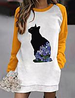 cheap -Women's Shift Dress Short Mini Dress Yellow Black Red Long Sleeve Floral Cat Animal Pocket Print Fall Round Neck Casual 2021 S M L XL XXL 3XL