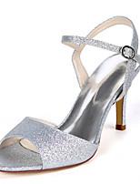 cheap -Women's Wedding Shoes Stiletto Heel Open Toe Wedding Sandals Wedding Gleit Solid Colored Light Purple Champagne White